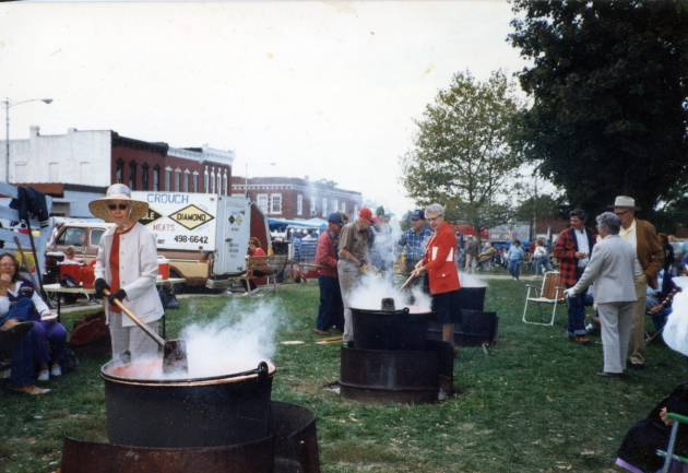 My great-grandma noreen stirring Apple Butter at Apple Butter Makin' Days in Mt. Vernon, Mo, 1989