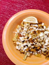 12. Curry-Spiced Cauliflower and Squash over Zezty Ginger Rice with Lemon Crema (Hello Fresh)